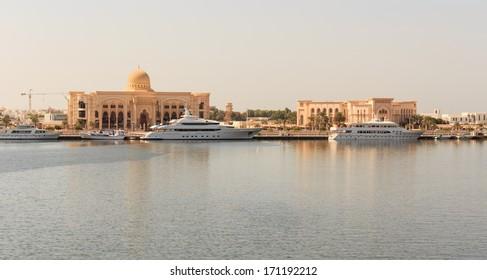 SHARJAH, UAE - OCTOBER 28: Sharjah - port, on October 28, 2013. Sharjah is located along northern coast of Persian Gulf on Arabian Peninsula