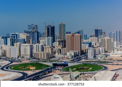 SHARJAH, UAE - SEPTEMBER 27, 2012: View of Sharjah - third largest and most populous city in United Arab Emirates. Sharjah is located along northern coast of Persian Gulf on Arabian Peninsula.