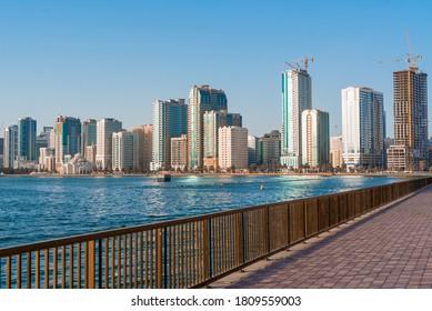 Sharjah, UAE, September 4, 2020. Sharjah Skyline. Modern skyscrapers around buhairah lake.