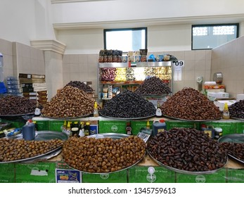 Sharjah, United Arab Emirates - February 02 2017: Different varieties of dates on sale at the Souk Al Jubail in Sharjah