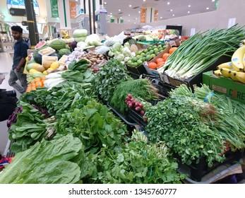 Sharjah, United Arab Emirates - February 02 2017: Fresh vegetables for sale at the Souk Al Jubail in Sharjah