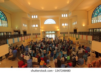 Sharjah, United Arab Emirates - February 02 2017: A view of the indoor fish market in the Souk Al Jubail in Sharjah