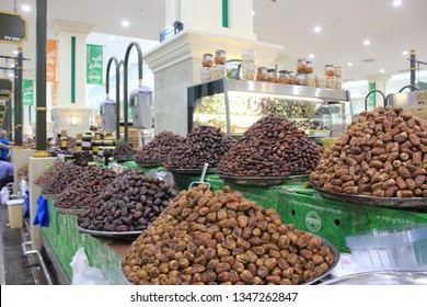 Sharjah, United Arab Emirates - February 02 2017: Different varieties of dates for sale within the Souk Al Jubail in Sharjah