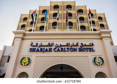 SHARJAH, UNITED ARAB EMIRATES - JUNE 24, 2016: View of 4 stars Sharjah Carlton hotel (170 rooms). Resort offers an outdoor pool, right next to the beach.