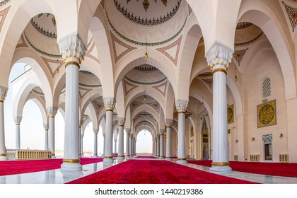 Sharjah / United Arab Emirates-6/28/2019-Sharjah Mosque second biggest mosque United Arab Emirates beautiful traditional Islamic architecture new tourist attraction in Middle east