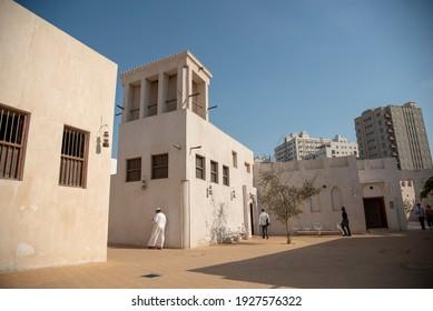 Sharjah,UAE - 3 9 2019 :  Sharjah Heritage area traditional buildings