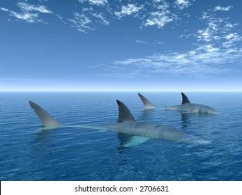 Shark couple in a blue sea - 3d scene.