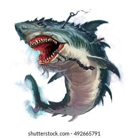 shark mouth monster illustration