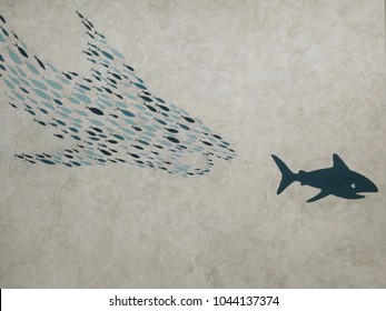 Shark Painting on the wall.