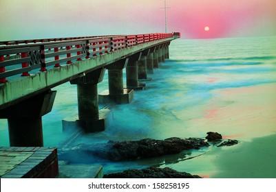 Shark Rock Pier at Sunset in Port Elizabeth, Eastern Cape, South Africa