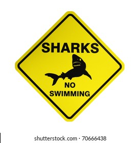 Sharks - No swimming, Sign in Australia,isolated on white background
