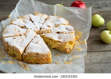 Sharlotka with apple raw piece