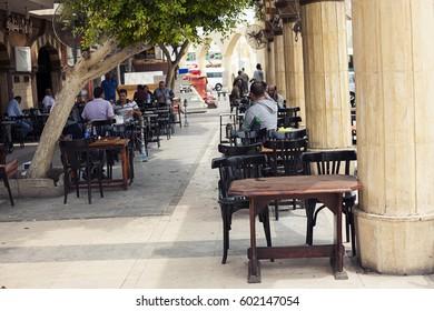 Sharm el sheikh Egypt - 28 august 2016: restaurant pub outside front alfresco, open air