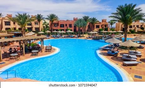 Sharm El Sheikh, Egypt - April 17, 2014: Territory of Hotel Sea Life (Sea Group) in Sharm el Sheikh of Egypt