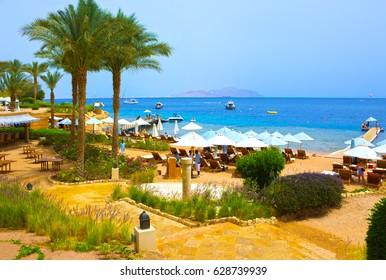 Sharm El Sheikh, Egypt - April 11, 2017: Buildings and Area Hotel Four Seasons Resort Sharm El Sheikh