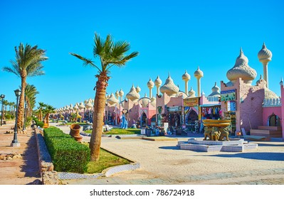 SHARM EL SHEIKH, EGYPT- DECEMBER 15, 2017: The scenic area of Alf leila wa leila (1001 nights) Bazaar with park, fountains, sculptures and unusual Arabic pavilions, on December 15 in Sharm El Sheikh.