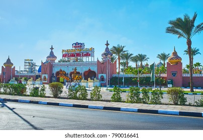 SHARM EL SHEIKH, EGYPT- DECEMBER 15, 2017: Alf leila wa leila Palace (1001 nights) is famous touris center with unique show program and different attractions, on December 15 in Sharm El Sheikh.