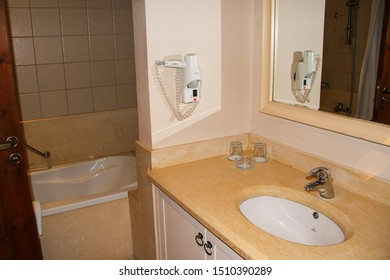 Sharm El Sheikh, Egypt, September 05, 2018. Hotel Continental Beach Resort. A small but comfortable modern bathroom in an inexpensive hotel room