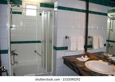 Sharm El Sheikh, Egypt, September 05, 2018. Hotel Club Resort. A small but comfortable modern bathroom in an inexpensive hotel room