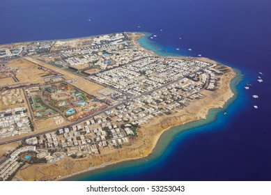 sharm el sheikh and red sea with corals from above