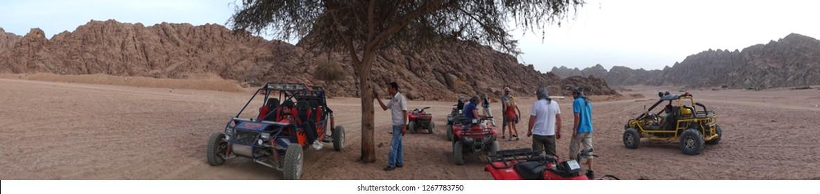 Sharm el Sheikh/Egypt - 02/17/2013: Quad excursion in the Egyptian desert north of Sharm el Sheikh