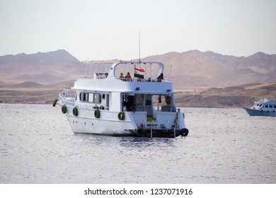 Sharm El-Shaikh, Egypt - November 2, 2018:- photo for Tourist boat In the Egyptian city of Sharm el-Sheikh, shows the boat sailing in the Red Sea and Carrying foreign tourists aboard.
