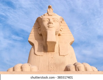 SHARM EL-SHEIKH, EGYPT -  MARCH 2, 2016: The Statue of ancient egyptian sphinx, on March 2 in Sharm el-Sheikh