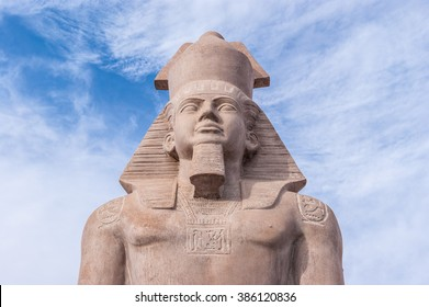 SHARM EL-SHEIKH, EGYPT - MARCH 2, 2016: The Statue of ancient egyptian pharaoh king Ramses, on March 2 in Sharm el-Sheikh