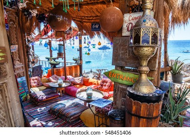 SHARM EL-SHEIKH,EGYPT - NOV 5,2016: the restaurant Farsha mountain restaurant near Gold Beach