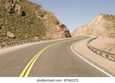 Sharp bends on the route called El Cuadrado between La Falda and Rio Ceballos, province of Cordoba, Argentina
