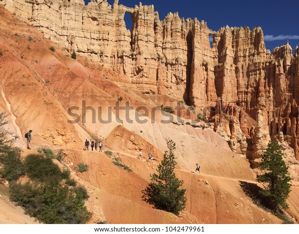 Sharp Bryce Canyon National Park Hoodoos on Canyon hiking trail. Exploration from within of the majestic geological formations, Utah, USA.