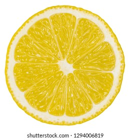 Sharp and contrast image of lemon slice. Top view to fresh organic lemon slice isolated on white background with clipping path.