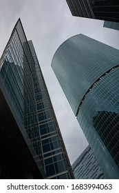 Sharp corners of Moscow city: view of the business center on a cloudy day
