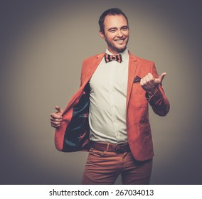 Sharp dressed fashionist fooling around