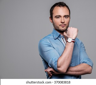 Sharp dressed fashionist man wearing blue shirt