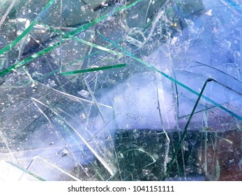 Sharp glass waste in focus, for recycling.
