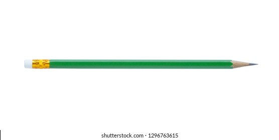 Sharp green pencil isolated on white background