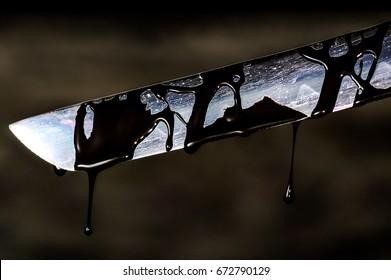 Sharp Katana Sword Blade Dripping Black Color Painting