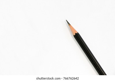 Sharp pencil black color put on blank white paper