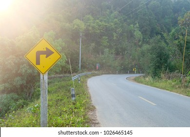 Sharp right bend in road for driving.