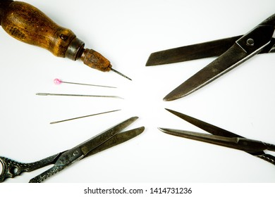 Sharp tailor's tools, edgy vintage instrument for hand made tailoring
