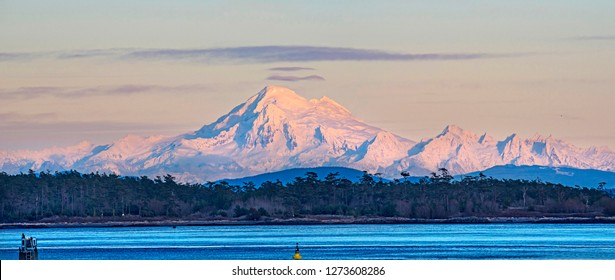 Sharp telephoto close-up of snow-capped mountains, Mt. Baker, Cascade Range, Washington, USA
