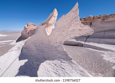 Sharp white stone in Pumice field that looks like the moon in the desert of Catamarca, Argentina