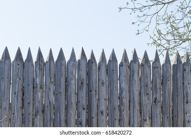 Sharp wooden fence background fortification