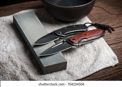Sharpen the pocket knife with grindstone or whetstone. Pocket knife care and maintenance.