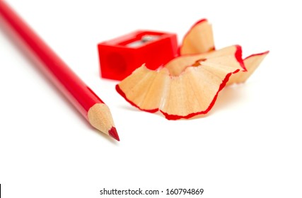 sharpened red pencil isolated on white background