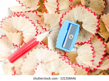 sharpener is blue, and have red crayon