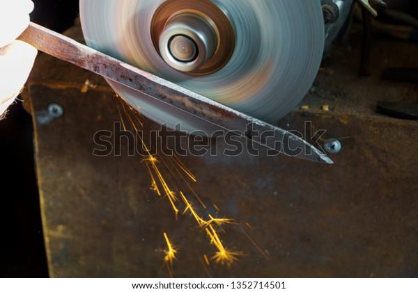 Sharpening Circular Saw Worker Fabrication Knife Stock Photo (Edit