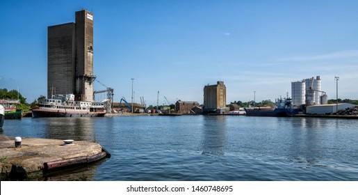 Sharpness, United Kingdom - July 2019: Sharpness Docks in Gloucestershire, United Kingdom