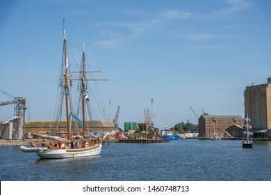 Sharpness, United Kingdom - July 2019: The sailing ship Anny in Sharpness Docks in Gloucestershire, United Kingdom